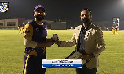 Waseem Muhammad with the man of the match award