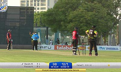 Sharjah batsmen Fayyaz Ahmad and Renjith Mani in action during the match