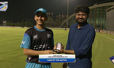 ECB Blues' Adithya Shetty receives Man of the Match Award