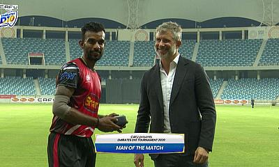Renjith Mani receives Player of the Match Award