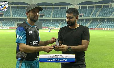 Rohan Mustafa with the player of the match award