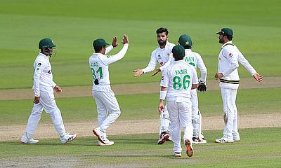 Pakistan's Shadab Khan celebrates taking the wicket of England's Jofra Archer