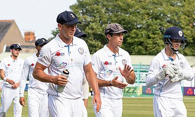 Derbyshire players coming off the ground at Grace Road, Leicester