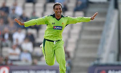 Shoaib Akhtar of Pakistan celebrates taking the wicket of England's Andrew Strauss in 2010