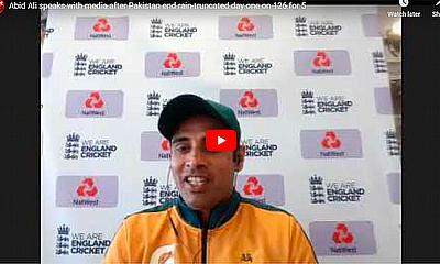 Abid Ali speaks with the media after Pakistan end rain-truncated day one on 126 for 5