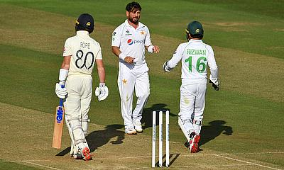 Pakistan's Yasir Shah celebrates taking the wicket of England's Ollie Pope