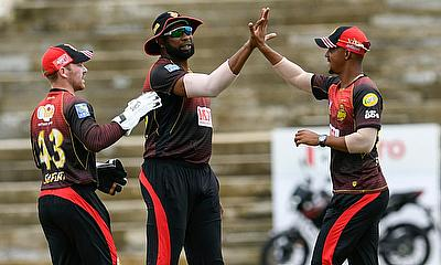 Trinbago Knight Riders celebrate a wicket