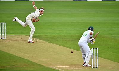 England's Stuart Board bowling against Pakistan