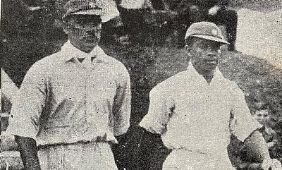 Walking out to open the bat with J.Naoomal, against England. - Lord's 1932