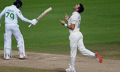 James Anderson celebrates the wicket of Pakistan's Azhar Ali and his 600th test wicket