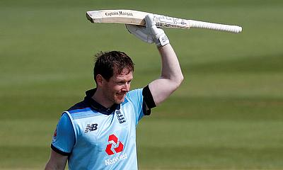 England's Eoin Morgan celebrates his century against Ireland in the recent ODI series