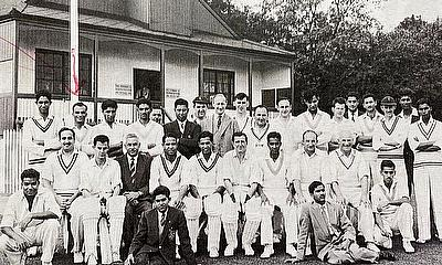 1959 cricket festival - Lt. Comd Wells XI vs Pakistan Eaglets - standing second from left.
