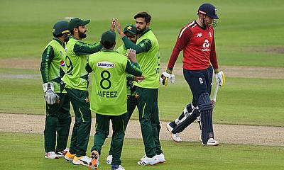 Pakistan's Imad Wasim celebrates the wicket of England's Jonny Bairstow with teammates