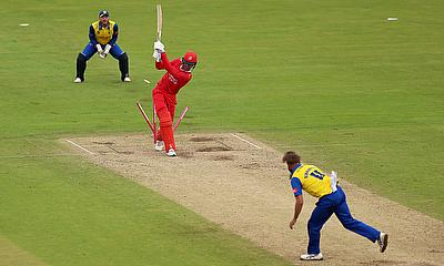 Lancashire's Keaton Jennings is bowled out by Durham's Nathan Rimmington