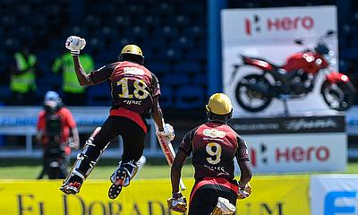 Khary Pierre (L) and Jayden Seales (R) of Trinbago Knight Riders  V2celebrate winning the Hero Caribbean Premier League match 17