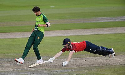 England's Eoin Morgan in action