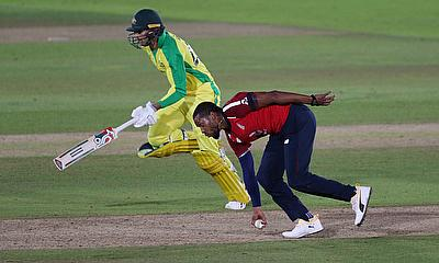 England's Chris Jordan runs out Australia's Ashton Agar