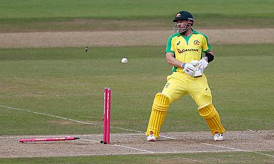 Australia's Aaron Finch looks dejected as he is bowled by England's Chris Jordan
