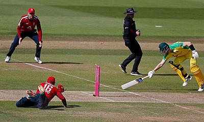 Australia's Steve Smith is run out by England's Eoin Morgan
