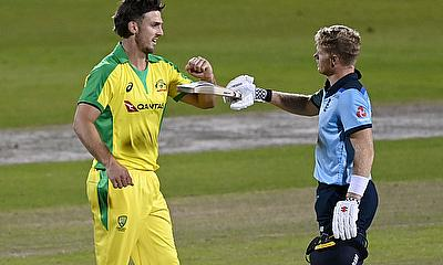 England's Sam Billings and Australia's Mitchell Marsh after the match