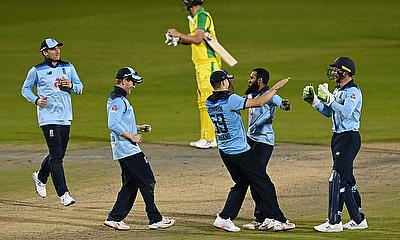 England celebrate after winning the match