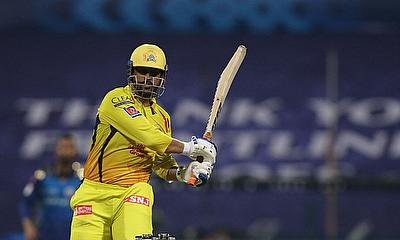 MS Dhoni of the Chennai Superkings plays a shot during match 1 of season