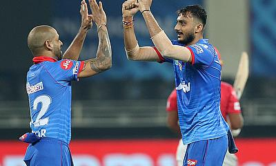 Axar Patel of Delhi Capitals celebrates the wicket of Sarfaraz Khan of Kings XI