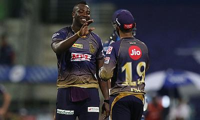 Andre Russell of Kolkata Knight Riders celebrates the wicket of Hardik Pandya