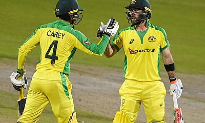 Australia's Glenn Maxwell celebrates his century with Alex Carey in 3rd ODI against England recently