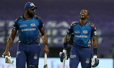 Kieron Pollard and Hardik Pandya of Mumbai Indians