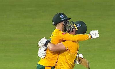 Ben Duckett and Dan Christian celebrate Notts Outlaws winning the Vitality Blast 2020