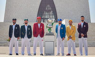 Six Cricket Association captains pose with the Quaid-e-Azam Trophy