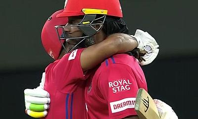 Gayle and Mayank celebrate