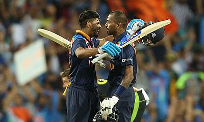 India's Hardik Pandya and Shreyas Iyer celebrate after the match