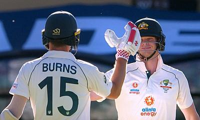 Joe Burns and Steve Smith celebrate Australia win