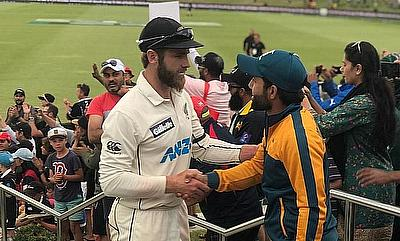 Kane Williamson and Mohammad Rizwan shake hands at the end of the match