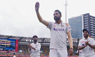 Mohammed Siraj celebrates his maiden Test five-wicket haul