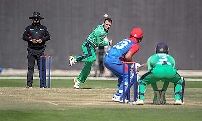 Andy McBrine taking a wicket vs Afghanistan