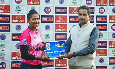 Indrani Roy from Bokaro Blossoms was given player of the Match award by Mr.Suresh Kumar(Senior Member,JSCA).