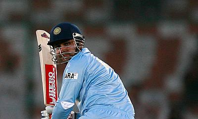 Virender Sehwag - plays a shot against Sir Lanka during the ninth Asia Cup one-day cricket tournament at National Cricket Stadium in Karachi July 3, 2