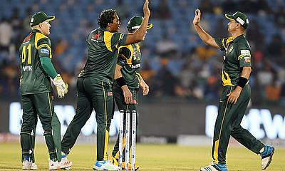 South Africa Legends celebrate a wicket