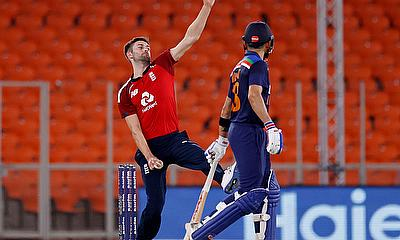 England's Mark Wood in action
