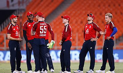 England players wait for the umpires decision for the wicket of India's Suryakumar Yadav