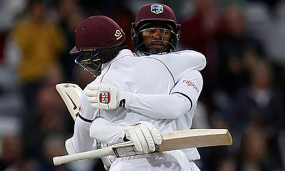 West Indies' Shai Hope and Shane Dowrich celebrate their win