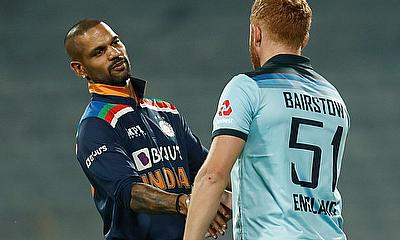 India's Shikhar Dhawan and England's Jonny Bairstow after the match