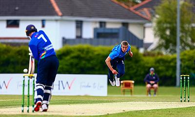 David O'Halloran (Malahide) bowling for the Leinster Lightning against the North West Warriors