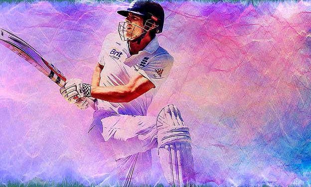 The canvas depicts Alastair Cook hitting a boundary at Edgbaston
