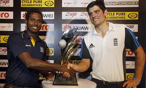 Angelo Mathews and Alastair Cook shake hands ahead of their ODI series