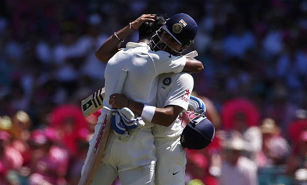 Virat Kohli and KL Rahul embrace