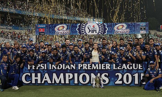 Mumbai Indians celebrate their 2015 Indian Premier League win in Kolkata.